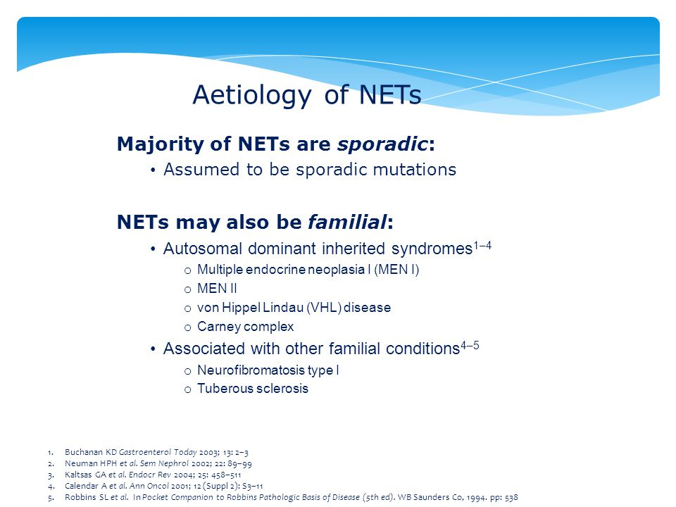 Aetiology of NETs Majority of NETs are sporadic: Assumed to be sporadic mutations NETs may also be familial: Autosomal dominant inherited syndromes 1–4 o Multiple endocrine neoplasia I (MEN I) o MEN II o von Hippel Lindau (VHL) disease o Carney complex Associated with other familial conditions 4–5 o Neurofibromatosis type I o Tuberous sclerosis 1.Buchanan KD Gastroenterol Today 2003; 13: 2–3 2.Neuman HPH et al.