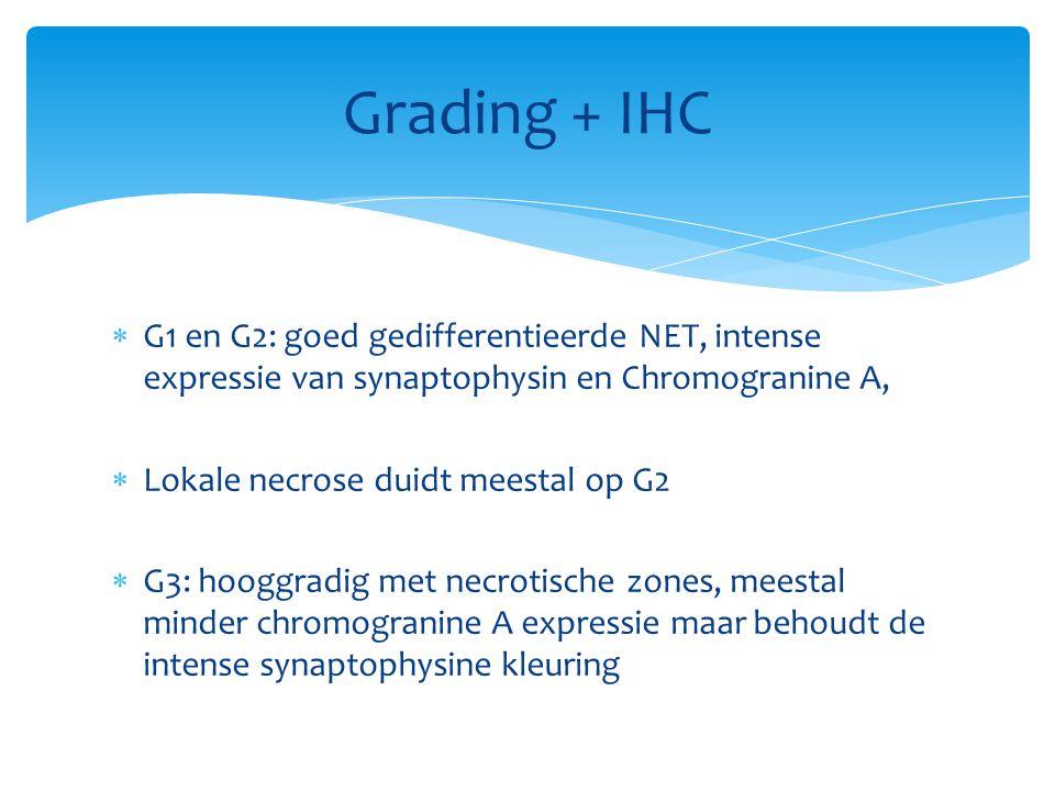 G1 en G2: goed gedifferentieerde NET, intense expressie van synaptophysin en Chromogranine A,  Lokale necrose duidt meestal op G2  G3: hooggradig met necrotische zones, meestal minder chromogranine A expressie maar behoudt de intense synaptophysine kleuring Grading + IHC