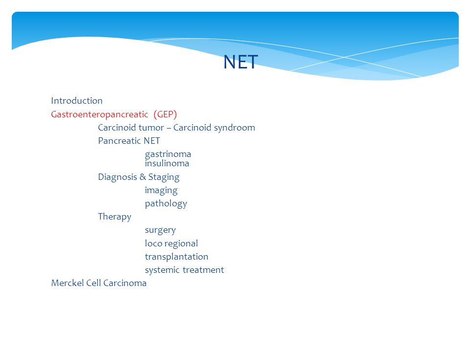 NET Introduction Gastroenteropancreatic (GEP) Carcinoid tumor – Carcinoid syndroom Pancreatic NET gastrinoma insulinoma Diagnosis & Staging imaging pa