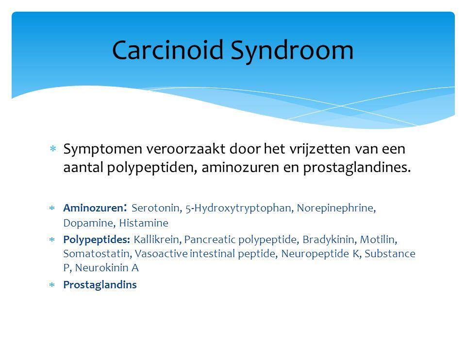  Symptomen veroorzaakt door het vrijzetten van een aantal polypeptiden, aminozuren en prostaglandines.