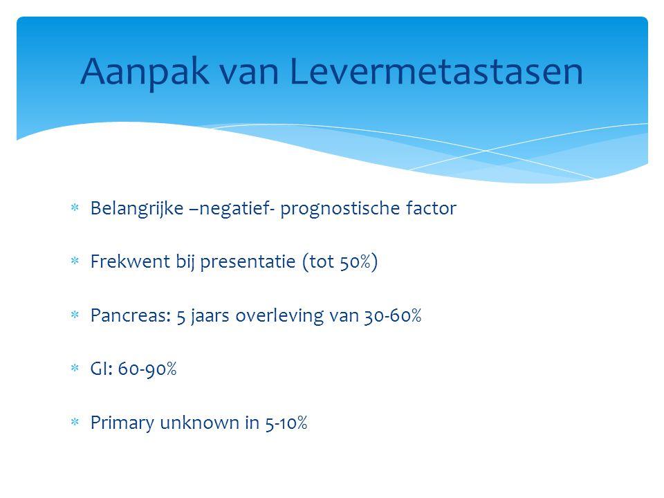  Belangrijke –negatief- prognostische factor  Frekwent bij presentatie (tot 50%)  Pancreas: 5 jaars overleving van 30-60%  GI: 60-90%  Primary unknown in 5-10% Aanpak van Levermetastasen