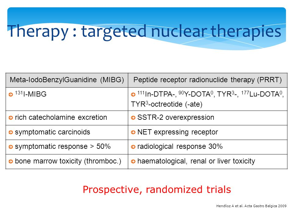 Therapy : targeted nuclear therapies Hendlisz A et al.