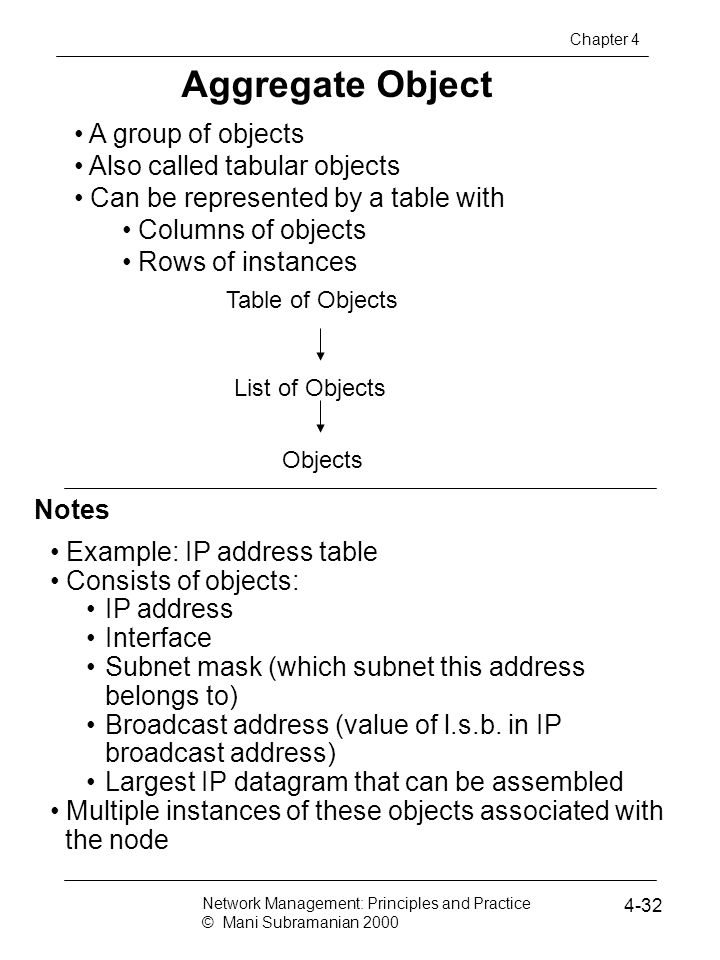 Notes Aggregate Object A group of objects Also called tabular objects Can be represented by a table with Columns of objects Rows of instances Example: