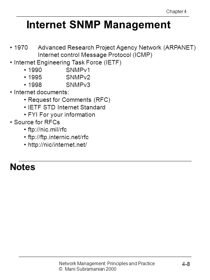 Notes Internet SNMP Management 1970Advanced Research Project Agency Network (ARPANET) Internet control Message Protocol (ICMP) Internet Engineering Ta