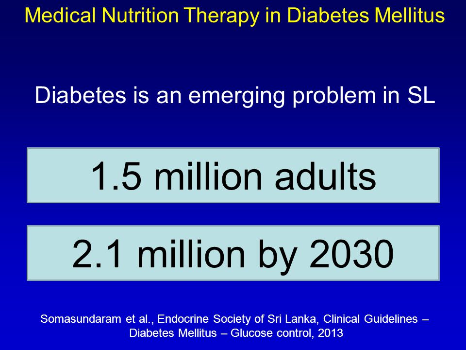 Diabetes is an emerging problem in SL 1.5 million adults 2.1 million by 2030 Somasundaram et al., Endocrine Society of Sri Lanka, Clinical Guidelines