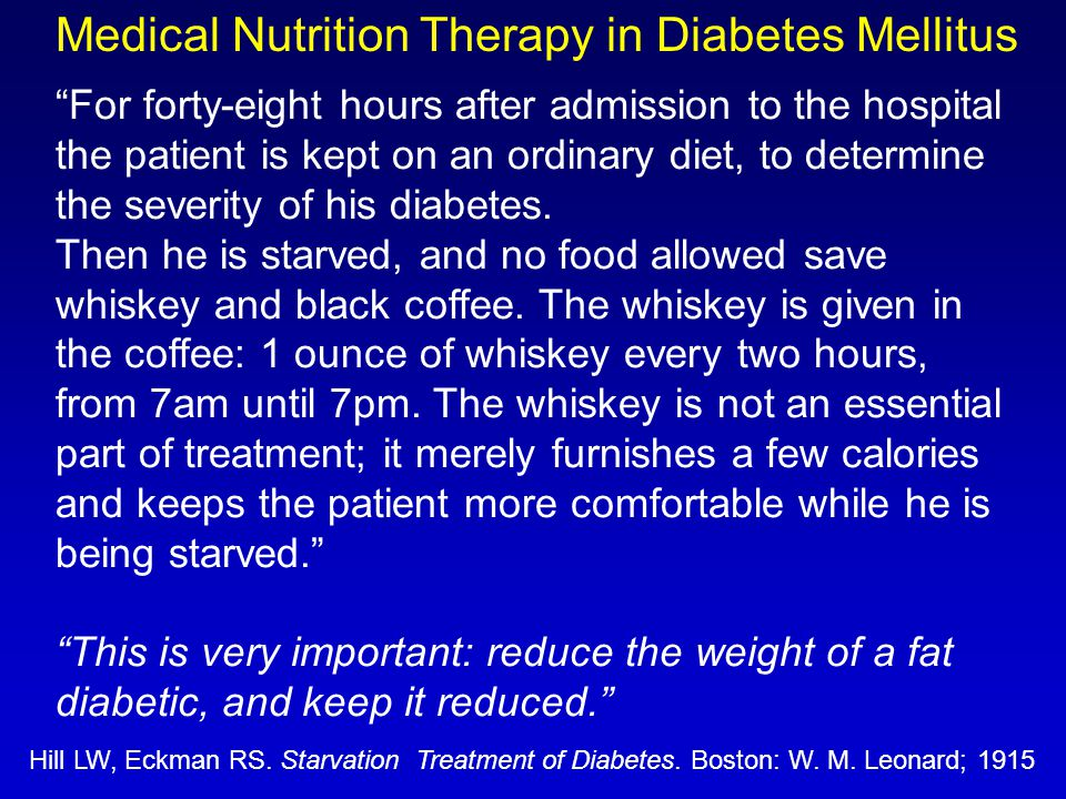 """For forty-eight hours after admission to the hospital the patient is kept on an ordinary diet, to determine the severity of his diabetes. Then he is"