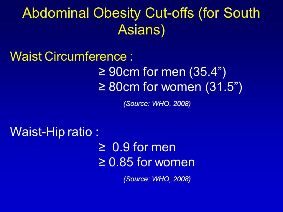 "Waist Circumference : ≥ 90cm for men (35.4"") ≥ 80cm for women (31.5"") (Source: WHO, 2008) Waist-Hip ratio : ≥ 0.9 for men ≥ 0.85 for women (Source: WH"