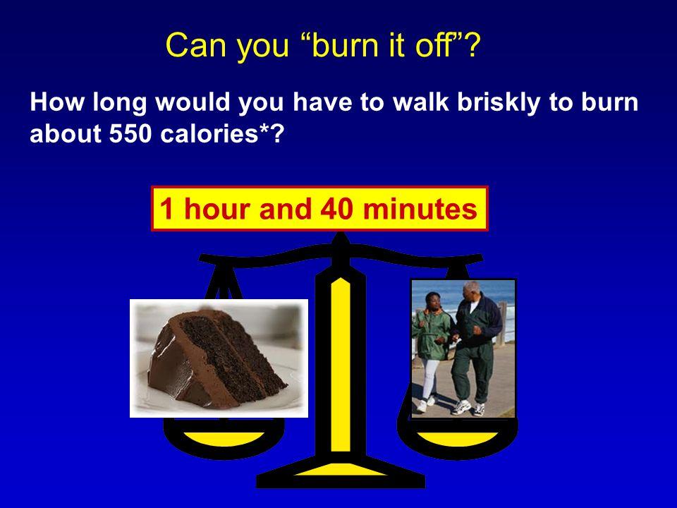 "How long would you have to walk briskly to burn about 550 calories*? 1 hour and 40 minutes Can you ""burn it off""?"