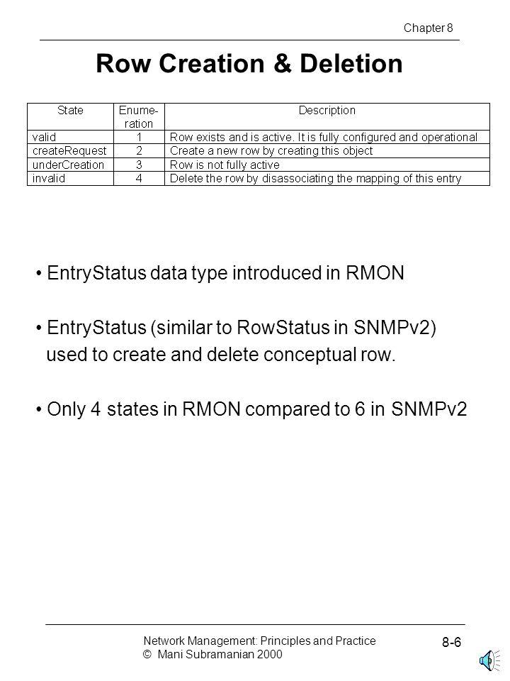 RMON2 MIB Chapter 8 Network Management: Principles and Practice © Mani Subramanian 2000 8-17