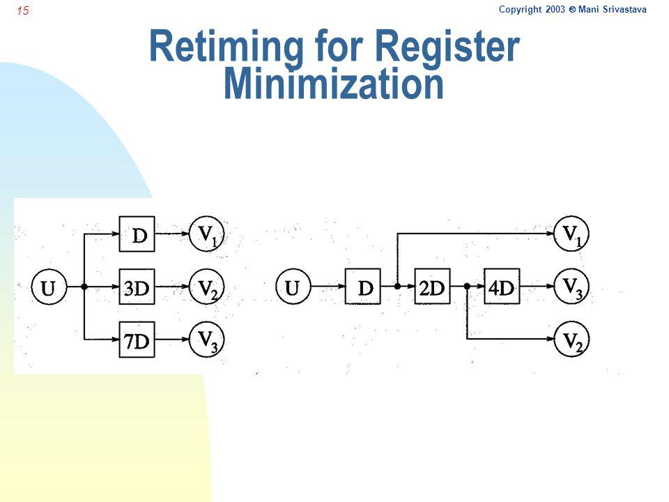 Copyright 2003  Mani Srivastava 15 Retiming for Register Minimization