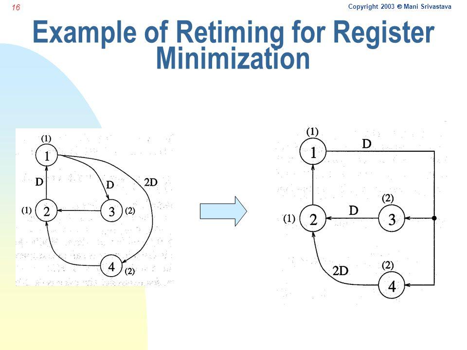 Copyright 2003  Mani Srivastava 16 Example of Retiming for Register Minimization