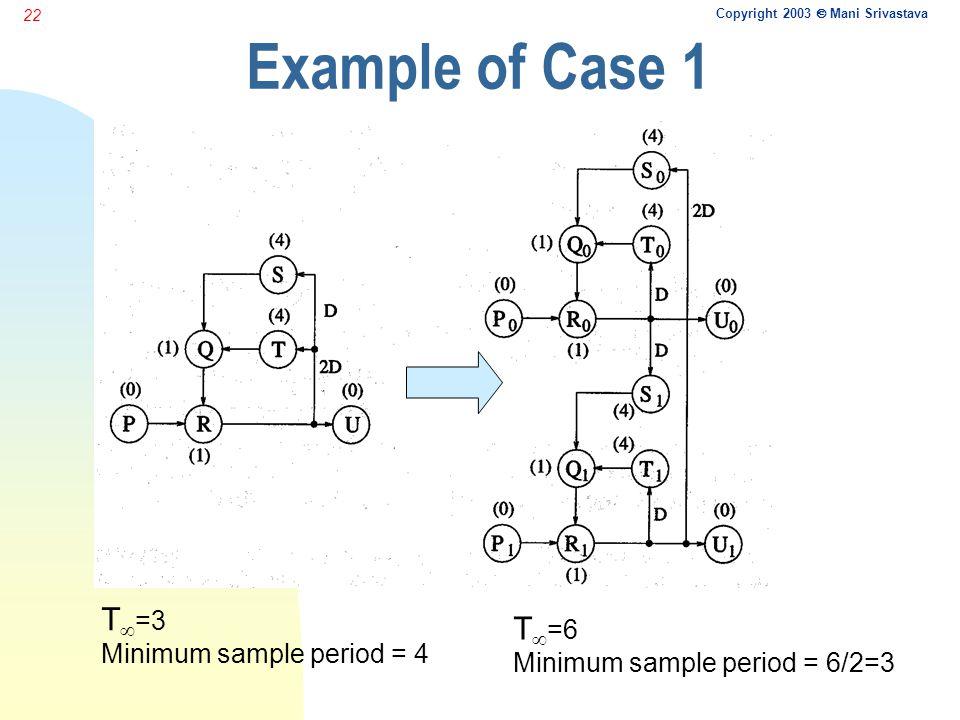 Copyright 2003  Mani Srivastava 22 Example of Case 1 T  =3 Minimum sample period = 4 T  =6 Minimum sample period = 6/2=3