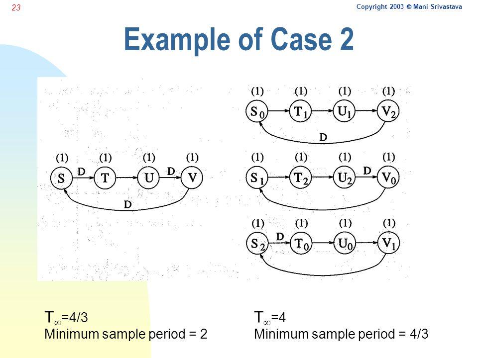 Copyright 2003  Mani Srivastava 23 Example of Case 2 T  =4/3 Minimum sample period = 2 T  =4 Minimum sample period = 4/3