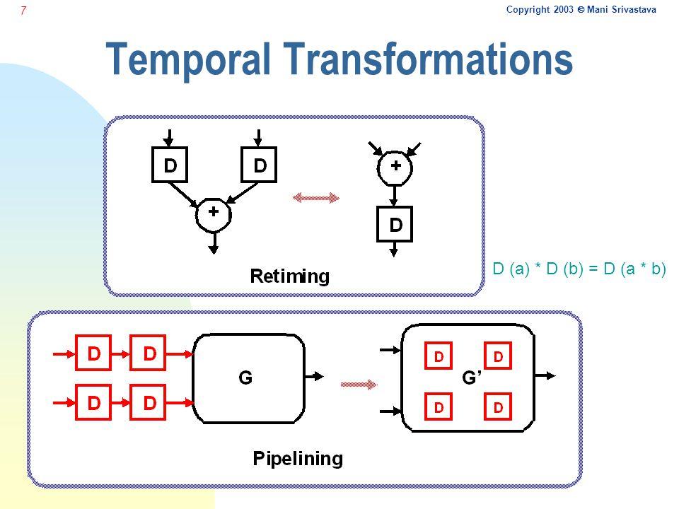 Copyright 2003  Mani Srivastava 7 Temporal Transformations D (a) * D (b) = D (a * b)