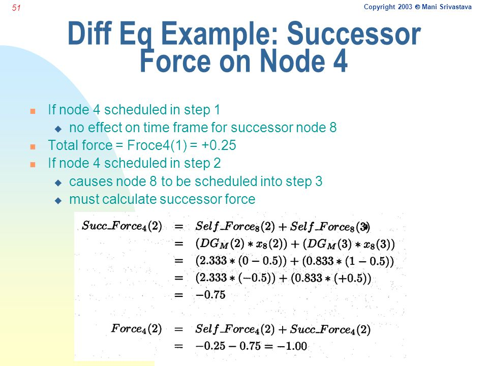 Copyright 2003  Mani Srivastava 51 Diff Eq Example: Successor Force on Node 4 n If node 4 scheduled in step 1 u no effect on time frame for successor