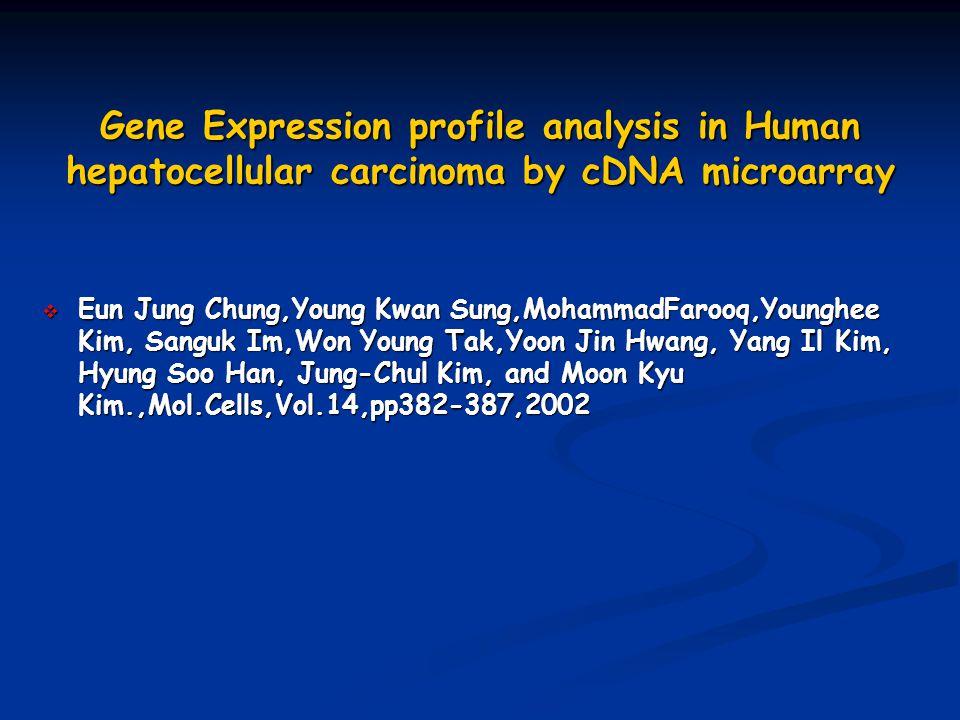 Gene Expression profile analysis in Human hepatocellular carcinoma by cDNA microarray  Eun Jung Chung,Young Kwan Sung,MohammadFarooq,Younghee Kim, Sanguk Im,Won Young Tak,Yoon Jin Hwang, Yang Il Kim, Hyung Soo Han, Jung-Chul Kim, and Moon Kyu Kim.,Mol.Cells,Vol.14,pp382-387,2002