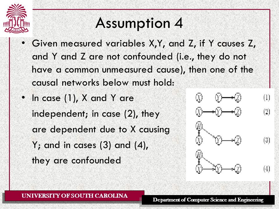 UNIVERSITY OF SOUTH CAROLINA Department of Computer Science and Engineering Assumption 4 Given measured variables X,Y, and Z, if Y causes Z, and Y and Z are not confounded (i.e., they do not have a common unmeasured cause), then one of the causal networks below must hold: In case (1), X and Y are independent; in case (2), they are dependent due to X causing Y; and in cases (3) and (4), they are confounded
