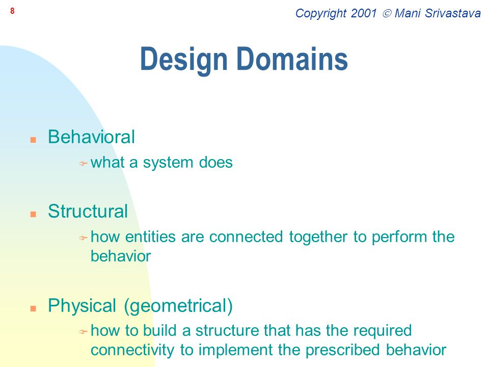 Copyright 2001  Mani Srivastava 9 Levels of Design Abstractions for Each Design Domain n Architectural n Algorithmic n Module or functional block n Logical n Switch n Circuit n Device etc.