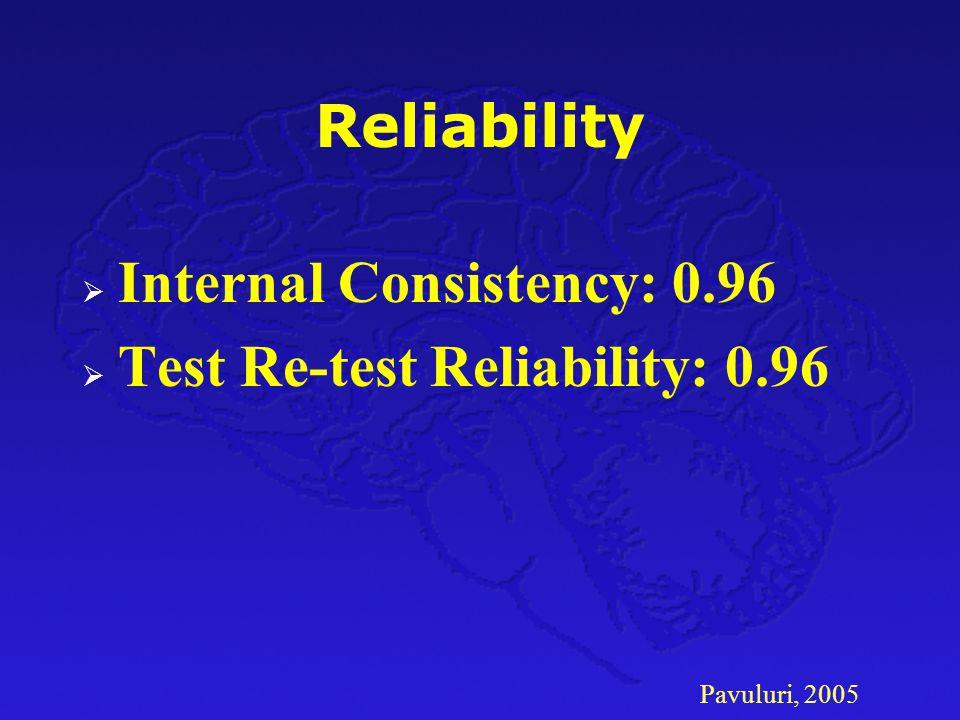 Pavuluri, 2005 Reliability  Internal Consistency: 0.96  Test Re-test Reliability: 0.96