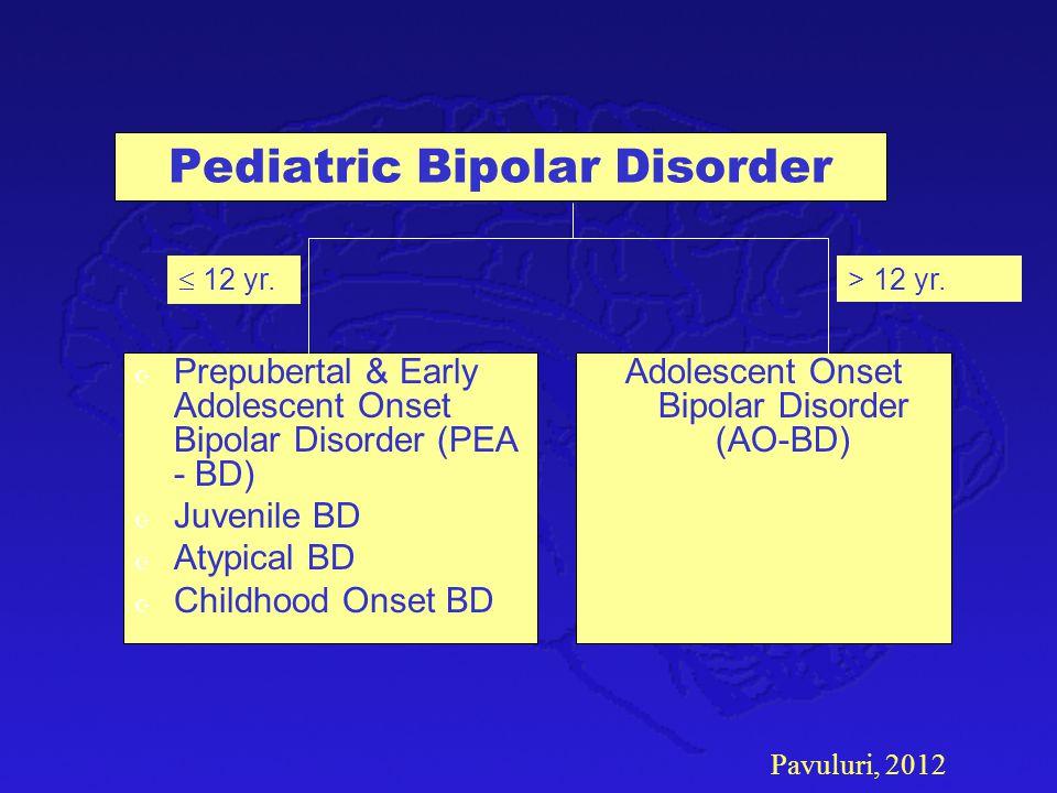 Pavuluri, 2012 Pediatric Bipolar Disorder Z Prepubertal & Early Adolescent Onset Bipolar Disorder (PEA - BD) Z Juvenile BD Z Atypical BD Z Childhood O