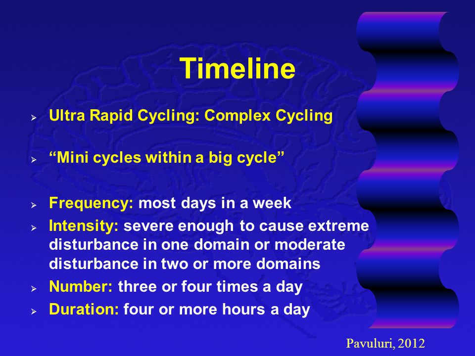 """Timeline  Ultra Rapid Cycling: Complex Cycling  """"Mini cycles within a big cycle""""  Frequency: most days in a week  Intensity: severe enough to caus"""
