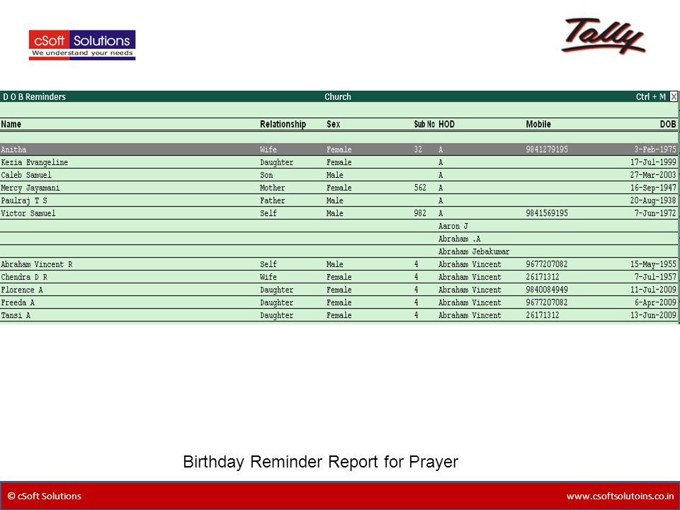 Birthday Reminder Report for Prayer