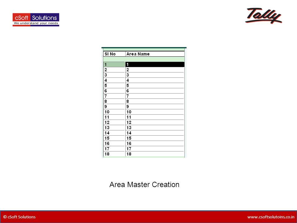 Area Master Creation