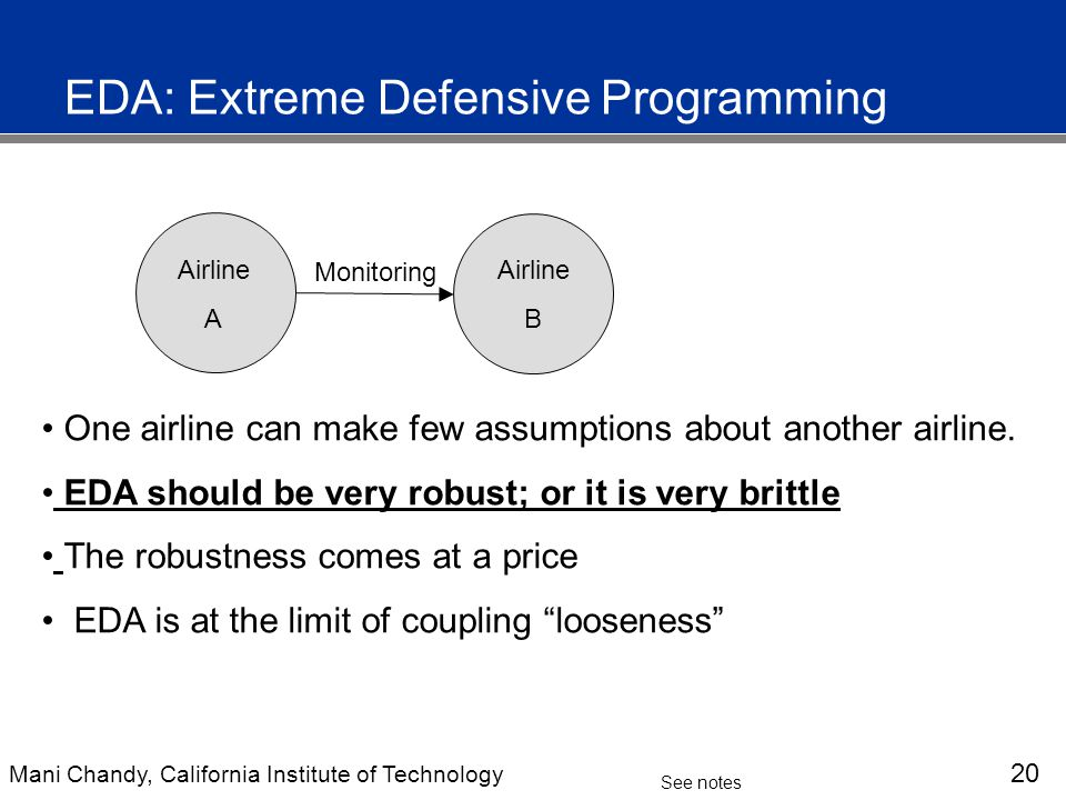 Mani Chandy, California Institute of Technology 21 See notes EDA: Extreme Defensive Programming Division A Division B Monitoring One division can make few assumptions about another division.
