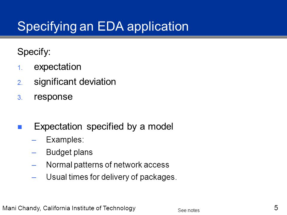 Mani Chandy, California Institute of Technology 5 See notes Specifying an EDA application Specify: 1.