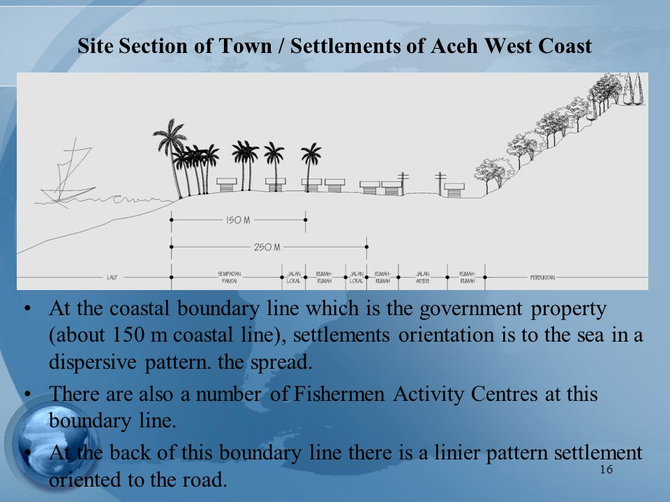 16 Site Section of Town / Settlements of Aceh West Coast At the coastal boundary line which is the government property (about 150 m coastal line), set