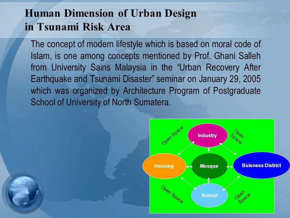 7 Human Dimension of Urban Design in Tsunami Risk Area The concept of modern lifestyle which is based on moral code of Islam, is one among concepts me