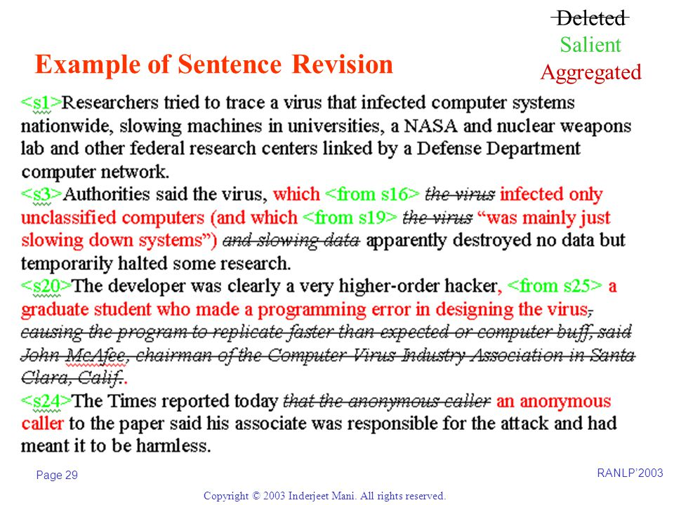 RANLP'2003 Page 29 Copyright © 2003 Inderjeet Mani. All rights reserved. Example of Sentence Revision Deleted Salient Aggregated