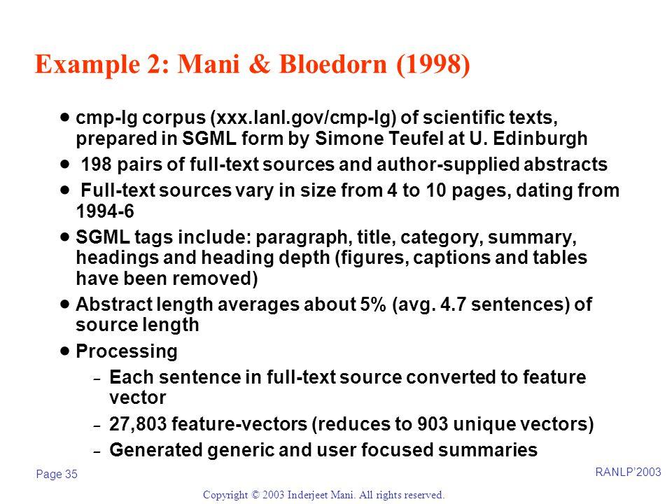 RANLP'2003 Page 35 Copyright © 2003 Inderjeet Mani.