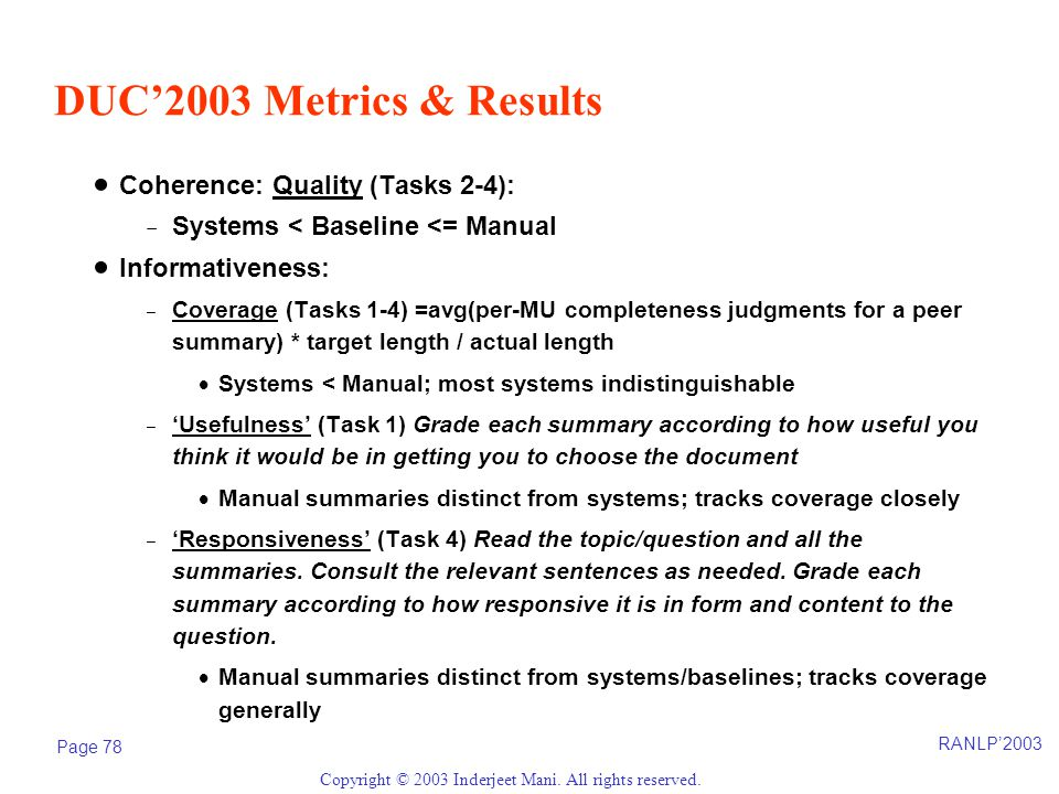 RANLP'2003 Page 78 Copyright © 2003 Inderjeet Mani. All rights reserved. DUC'2003 Metrics & Results  Coherence: Quality (Tasks 2-4): -Systems < Basel