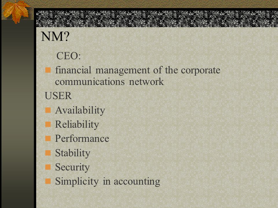 NM? CEO: financial management of the corporate communications network USER Availability Reliability Performance Stability Security Simplicity in accou