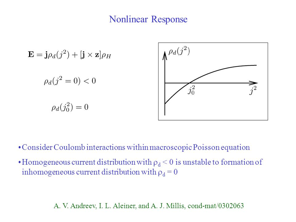 Nonlinear Response Consider Coulomb interactions within macroscopic Poisson equation Homogeneous current distribution with  d < 0 is unstable to formation of inhomogeneous current distribution with  d = 0 A.