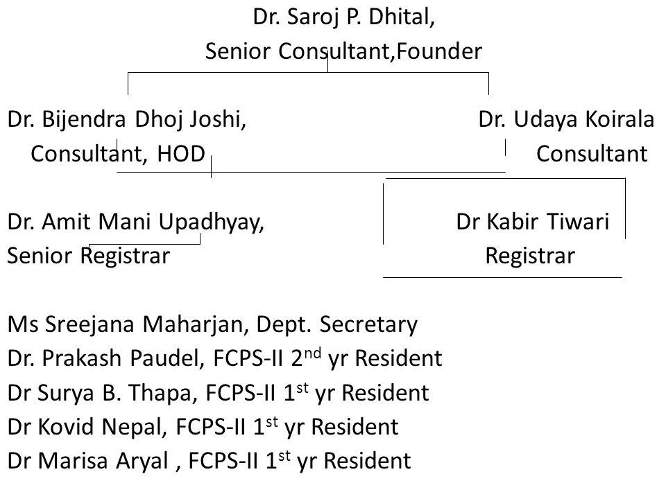 Dr. Saroj P. Dhital, Senior Consultant,Founder Dr.