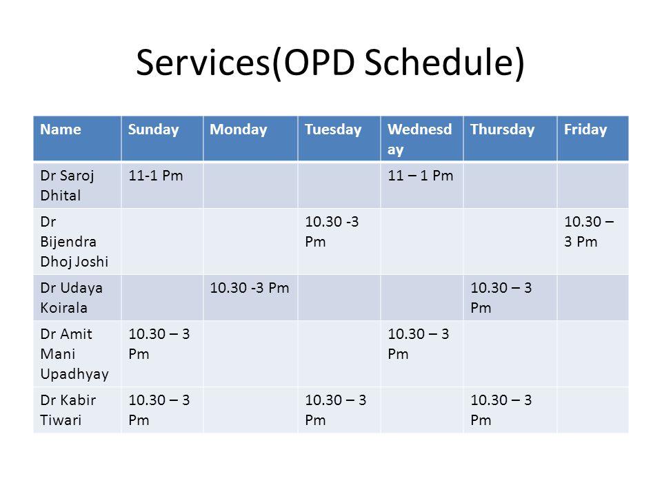 Services(OPD Schedule) NameSundayMondayTuesdayWednesd ay ThursdayFriday Dr Saroj Dhital 11-1 Pm11 – 1 Pm Dr Bijendra Dhoj Joshi 10.30 -3 Pm 10.30 – 3 Pm Dr Udaya Koirala 10.30 -3 Pm10.30 – 3 Pm Dr Amit Mani Upadhyay 10.30 – 3 Pm Dr Kabir Tiwari 10.30 – 3 Pm