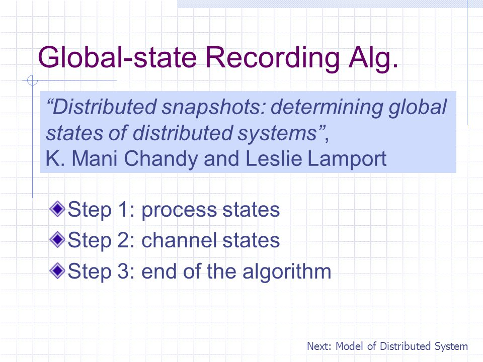 Global-state Recording Alg.
