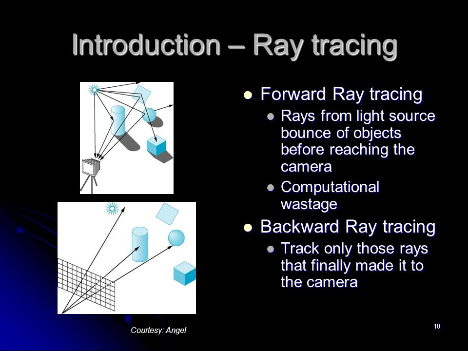 10 Introduction – Ray tracing Forward Ray tracing Forward Ray tracing Rays from light source bounce of objects before reaching the camera Computationa