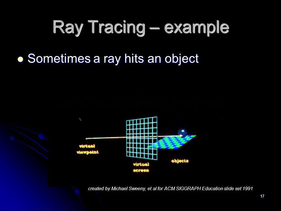 17 Ray Tracing – example Sometimes a ray hits an object Sometimes a ray hits an object created by Michael Sweeny, et al for ACM SIGGRAPH Education slide set 1991