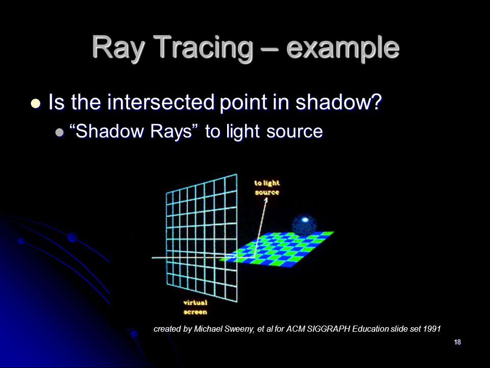 """18 Ray Tracing – example Is the intersected point in shadow? Is the intersected point in shadow? """"Shadow Rays"""" to light source """"Shadow Rays"""" to light"""