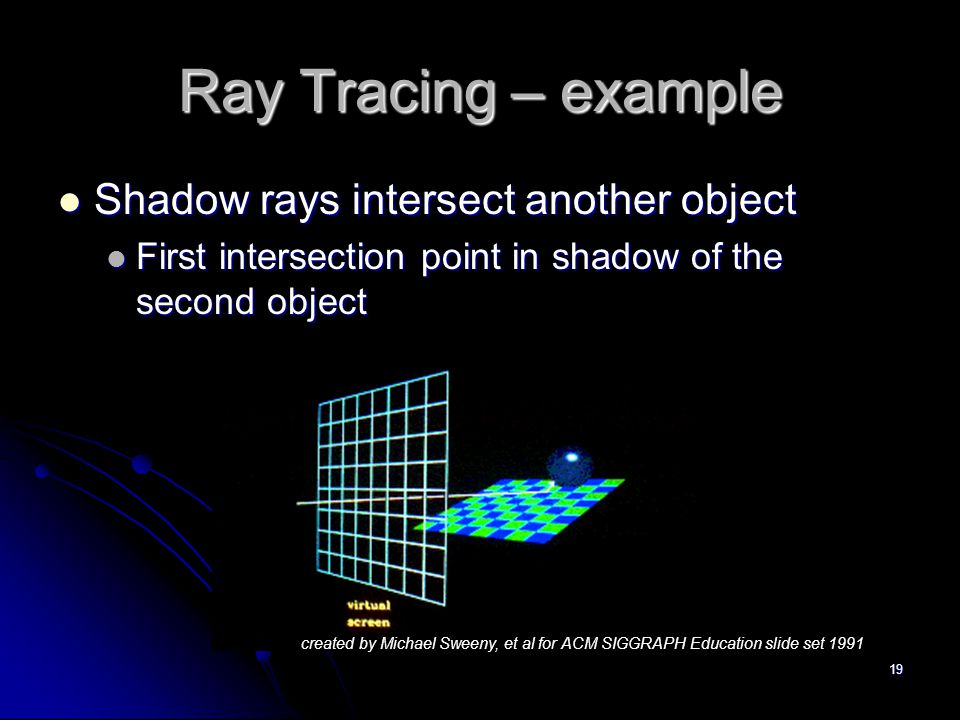 19 Ray Tracing – example Shadow rays intersect another object Shadow rays intersect another object First intersection point in shadow of the second ob