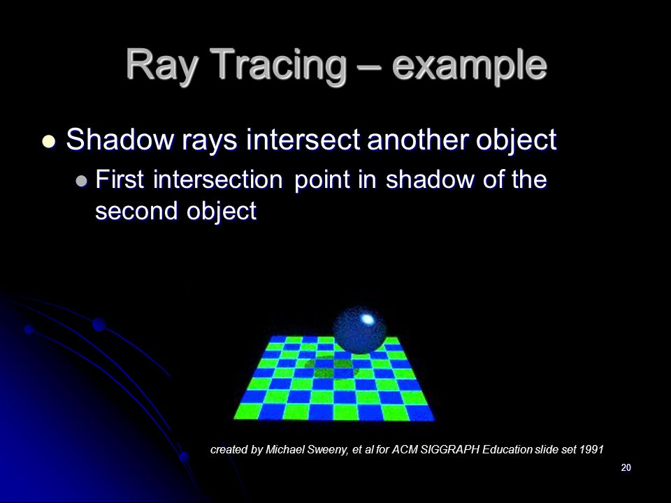 20 Ray Tracing – example Shadow rays intersect another object Shadow rays intersect another object First intersection point in shadow of the second object First intersection point in shadow of the second object created by Michael Sweeny, et al for ACM SIGGRAPH Education slide set 1991