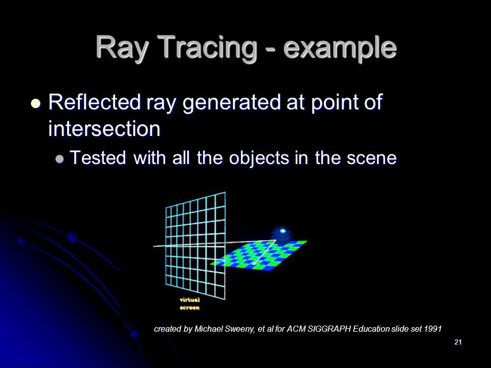 21 Ray Tracing - example Reflected ray generated at point of intersection Reflected ray generated at point of intersection Tested with all the objects