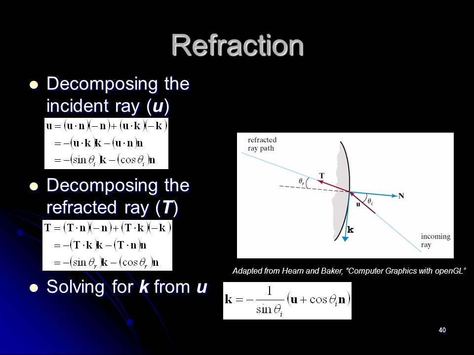 40 Refraction Decomposing the incident ray (u) Decomposing the incident ray (u) Decomposing the refracted ray (T) Decomposing the refracted ray (T) Solving for k from u Solving for k from u Adapted from Hearn and Baker, Computer Graphics with openGL