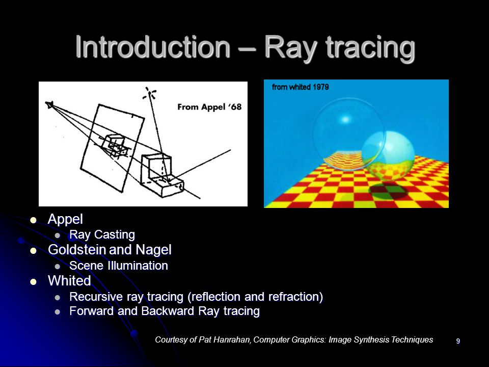 9 Introduction – Ray tracing Appel Appel Ray Casting Goldstein and Nagel Goldstein and Nagel Scene Illumination Whited Whited Recursive ray tracing (r