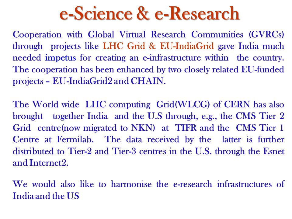 Cooperation with Global Virtual Research Communities (GVRCs) through projects like LHC Grid & EU-IndiaGrid gave India much needed impetus for creating an e-infrastructure within the country.