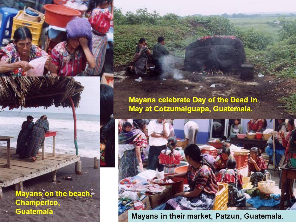 Mayans on the beach, Champerico, Guatemala Mayans celebrate Day of the Dead in May at Cotzumalguapa, Guatemala.