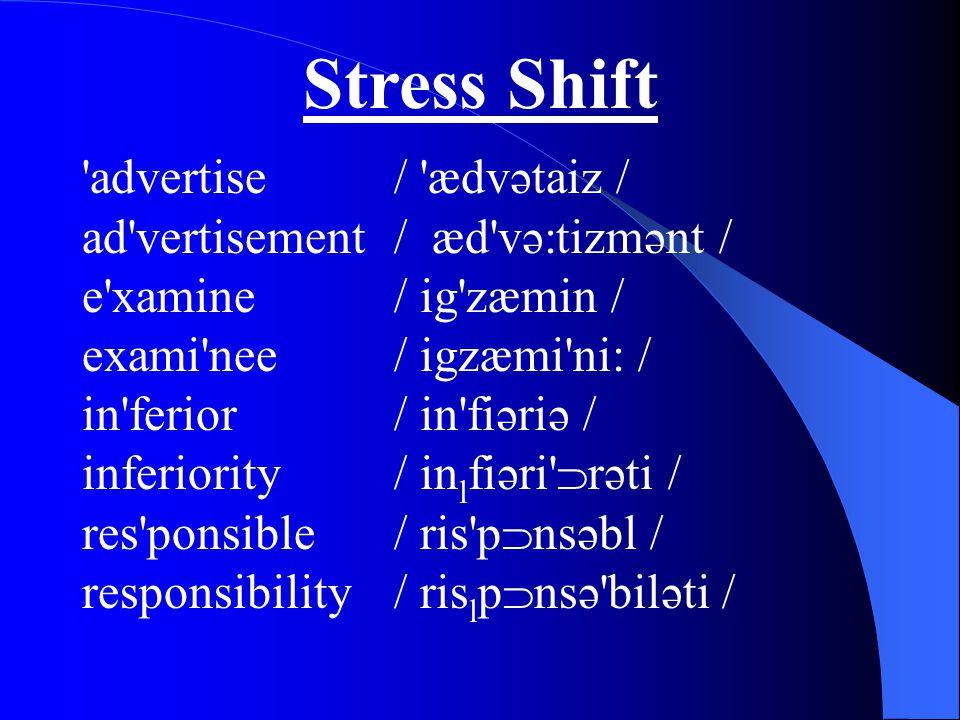 Stress Shift advertise / ædvətaiz / ad vertisement/ æd və:tizmənt / e xamine/ ig zæmin / exami nee/ igzæmi ni: / in ferior/ in fiəriə / inferiority/ in l fiəri  rəti / res ponsible/ ris p  nsəbl / responsibility/ ris l p  nsə biləti /